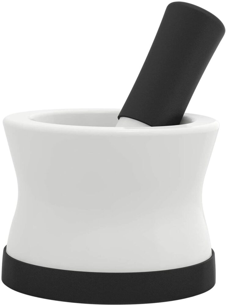 EZ-Grip Silicone & Porcelain Mortar and Pestle With Non-Slip Detachable Silicone Base