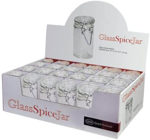 Grant Howard 50520 Cylindrical Clear Glass Spice Jars