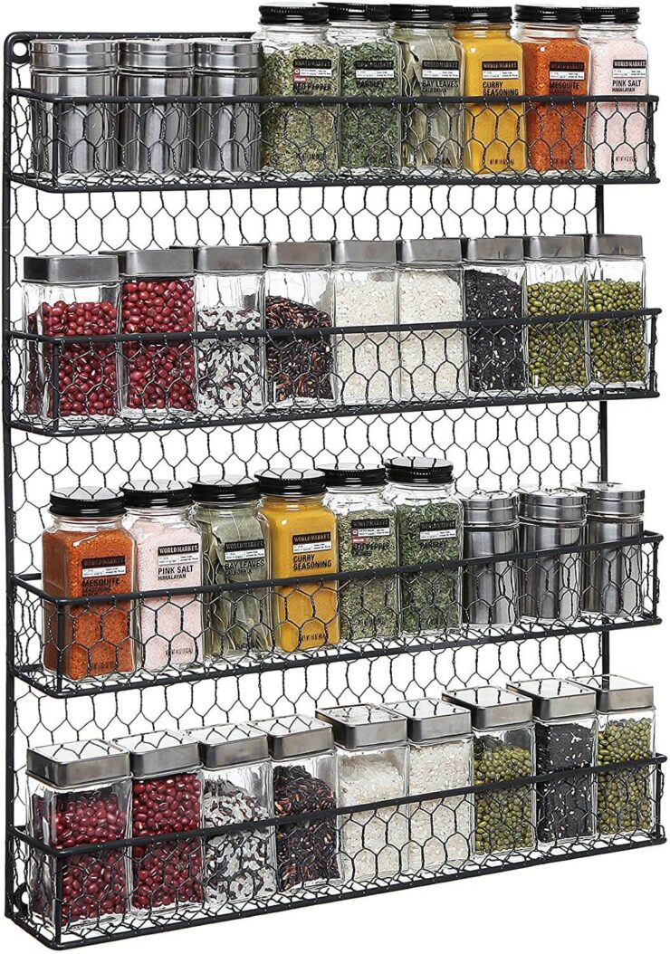 MyGift 4-Tier Country Chicken Wire Spice Rack