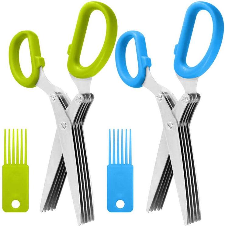 SourceTon 2 Packs Stainless Steel Herb Scissors