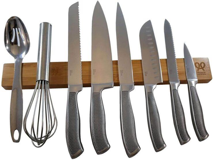 PremiumPresents Bamboo wood magnetic knife holder